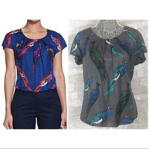 BODEN Ravello Top Peacock Short Sleeve Silk Blouse